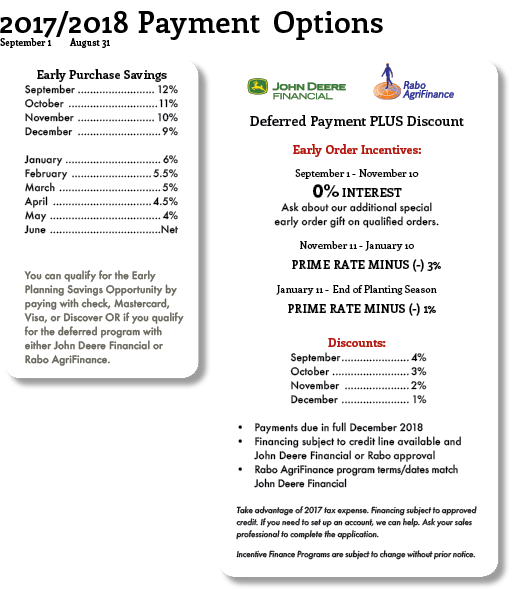 2017/2018 payment options